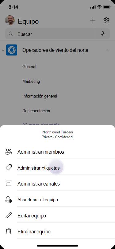 Administrar etiquetas en Teams con iOS