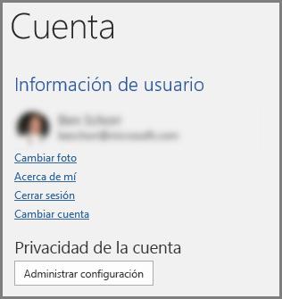 El panel de Cuenta que muestra el botón Administrar configuración en Privacidad de la cuenta