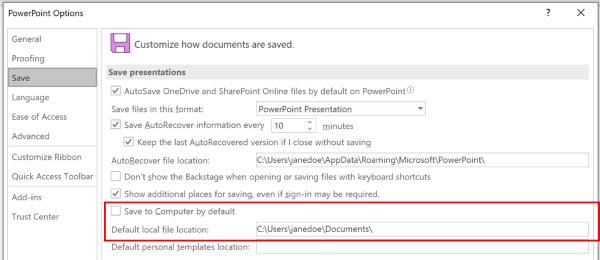 Captura de pantalla del cuadro de diálogo Opciones de PowerPoint que resalta la sección para personalizar la ubicación predeterminada