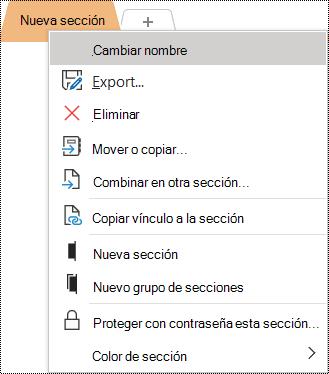 Captura de pantalla del menú contextual con la opción Cambiar nombre seleccionada.