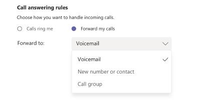 Responder a y las reglas de reenvío de llamadas
