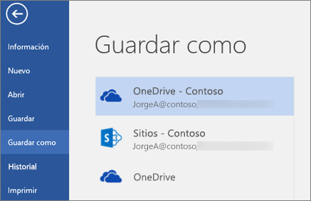 Guardar un documento de Word en OneDrive para la Empresa