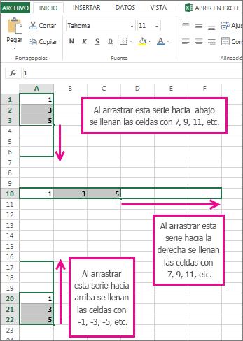 Rellenar una serie lineal