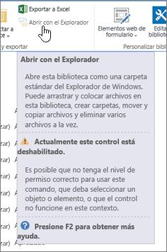 La opción Abrir con el Explorador está seleccionada pero no habilitada.