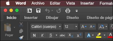 La cinta de opciones de Word para Mac en modo oscuro