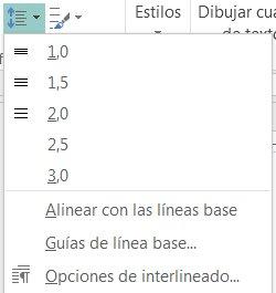 Captura de pantalla de cómo cambiar el interlineado en Publisher.