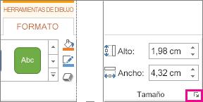 Selector de cuadro de diálogo en el grupo Tamaño de la pestaña Formato en Herramientas de dibujo