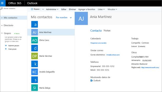 Después de importar los contactos, este es el aspecto que tendrán en Outlook en la web.