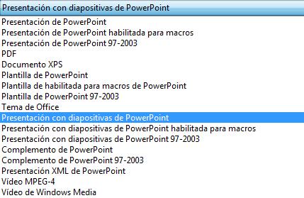 Guarde la presentación como una presentación de PowerPoint.