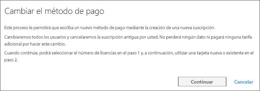 Captura de pantalla de la notificación que se muestra al cambiar del pago mediante factura a tarjeta de crédito.