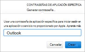 Muestra el cuadro de diálogo de contraseñas específicas de la aplicación de Apple