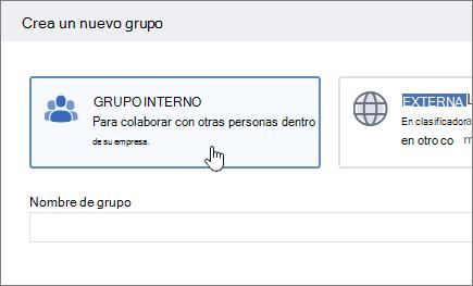 Captura de pantalla que muestra la pantalla crear un grupo en Yammer con el grupo interno seleccionado.