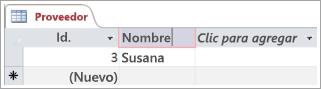 Fragmento de código de pantalla de la tabla de proveedor que muestra dos filas con identificador