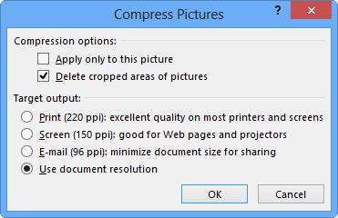 Opciones de comprimir imágenes