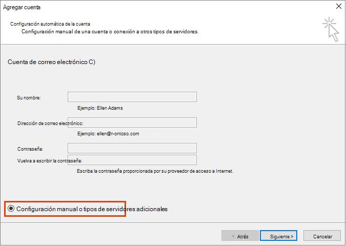 Opción configuración manual de agregar cuenta a Outlook u tipos de servidor adicionales