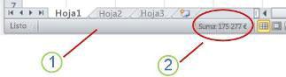 Barra de estado de Excel