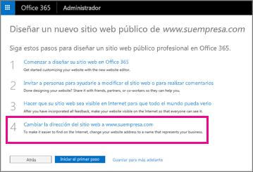 En la página Diseñar un nuevo sitio web público, seleccione el paso 4