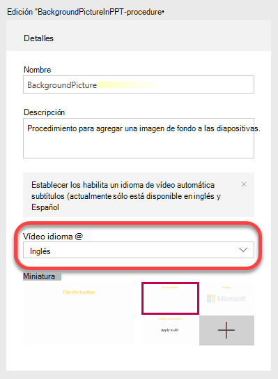 En detalles, especifique el idioma del vídeo