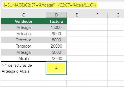 Ejemplo 1: SUMA y SI anidadas en una fórmula
