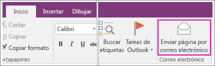 Captura de pantalla del botón Enviar página por correo electrónico en OneNote 2016.