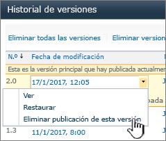 Lista desplegable de versiones con la anulación de la publicación resaltada