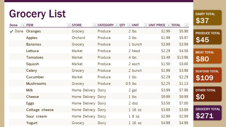 Imagen de una plantilla de lista de comestibles