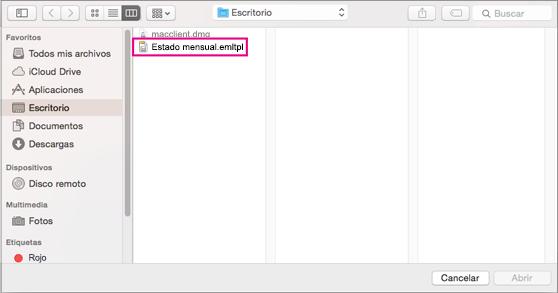 Elegir la plantilla de correo electrónico que quiere usar