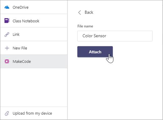 Cuadro de diálogo para especificar el nombre de un archivo de MakeCode y adjuntarlo a una tarea en Microsoft Teams