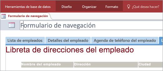 Fragmento de pantalla con formulario de navegación
