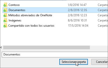 Captura de pantalla que muestra la seleccionar un cuadro de diálogo de destino en el menú de propiedades de documentos.