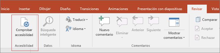 Recorte de pantalla de la interfaz de usuario de Word que muestra Revisar > Comprobar accesibilidad con un cuadro rojo alrededor.