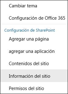 Captura de pantalla que muestra la opción de menú Información del sitio de SharePoint.