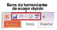 Barra de herramientas de acceso rápido de PowerPoint 2010
