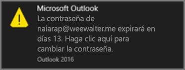 Imagen de la notificación que el usuario ve cuando va a expirar su contraseña.
