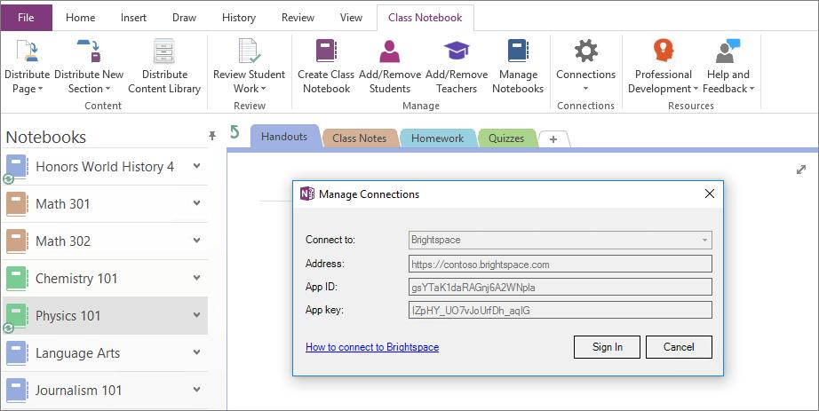 Captura de pantalla del cuadro de diálogo Conexiones del complemento de Bloc de notas de clase de OneNote con la directiva de grupo habilitada.