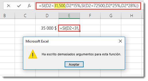 Mensaje de Excel cuando agrega una coma en un valor