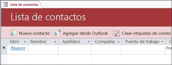 Formulario de la lista de contactos en la plantilla de la base de datos de contactos de Access