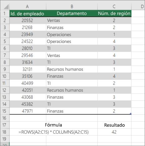 Ejemplo de la función filas y columnas para contar el número de celdas de un rango