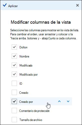 Organizar columnas en una biblioteca de documentos