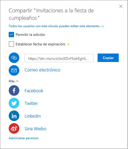 Todas las opciones de Compartir en OneDrive