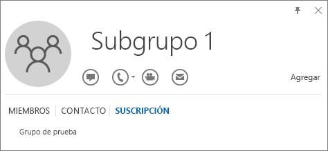 Captura de pantalla de la pestaña Pertenencia de la tarjeta de contacto de Outlook para el grupo denominado Subgrupo 1, que muestra que Subgrupo 1 es miembro del grupo llamado Grupo de pruebas.