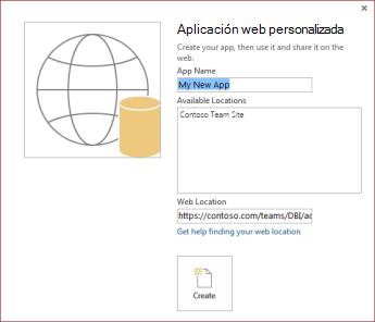 El cuadro de diálogo de nueva aplicación web personalizada que muestra el sitio del grupo Contoso en el cuadro Ubicaciones disponibles.