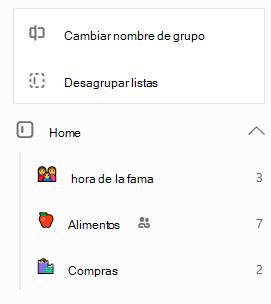 El grupo en el hogar está seleccionado con la opción de cambiar el nombre del grupo o desagrupar listas abrir