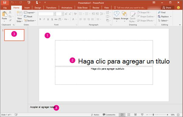 Muestra el área de trabajo de PowerPoint