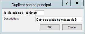 Una captura de pantalla muestra el cuadro de diálogo Duplicar página principal.