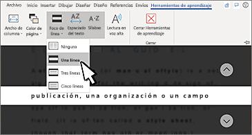 Lista desplegable de Foco de línea en la cinta de opciones con la opción Una línea seleccionada