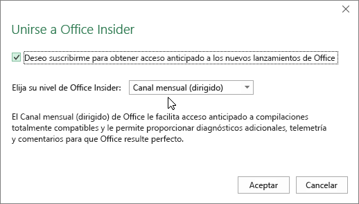 Cuadro de diálogo Unirse a Office Insider con la opción de nivel Canal mensual (dirigido)