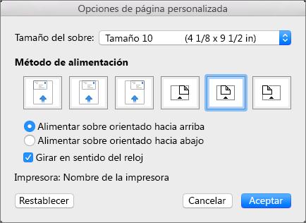 En Opciones de página personalizada, elija el tamaño del sobre y la orientación para introducir el sobre en la impresora.