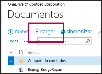 Botón Cargar en la barra de comandos rápidos en OneDrive