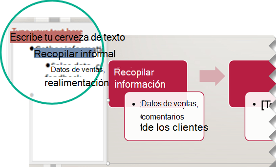 Escriba el texto del gráfico escribiendo en el editor de texto a la izquierda del gráfico.